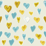 Water painted heart seamless pattern. Royalty Free Stock Photos
