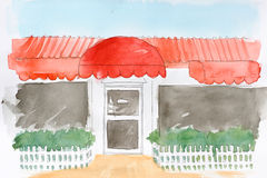 Water painting of a restaurant Royalty Free Stock Photography