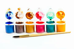 Water paints set and brush Stock Image