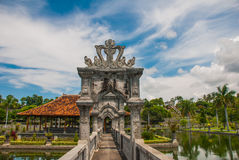 Water Palace Udjung. The bridge over the pond. Bali, Indonesia. The bridge over the pond. Architectural wonders at the Karangasem water temple in Bali, Indonesia Royalty Free Stock Photography