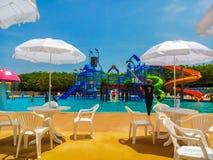 Water park,aqua park at payao in thailand. stock photos