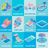 Vector water park attractions flat isometric icon set. Water park attractions vector icon set with different types of slides, swimming pools, ferris wheel Royalty Free Stock Photos