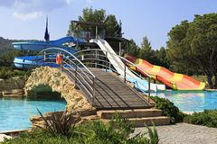 Water park and bridge at Porto Carras Sithonia. Stock Image