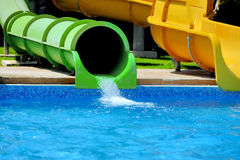 Water park. Colorful water slides at the water park Royalty Free Stock Images