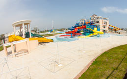 Water park at the entrance to Pomorie, Bulgaria Royalty Free Stock Photos