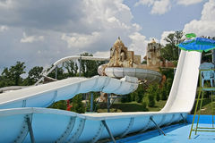 Water Park Fun. A big water slide at a water park or amusement park Stock Image