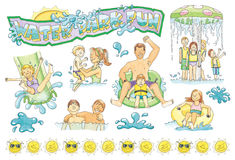 Water Park Hand-Drawn Illustrations Royalty Free Stock Image
