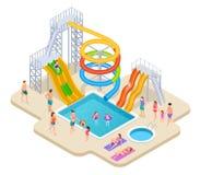Water park isometric. Aquapark kids slide waterslide aqua recreation summer activities swimming pool leisure game. Waterpark vector. Illustration of aquapark royalty free illustration