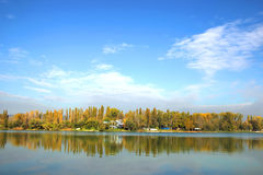 Water Park on Lake Shore in Autumn Stock Photo
