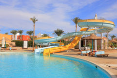 Water park. Outdoor water park at the resort in Egypt Stock Images
