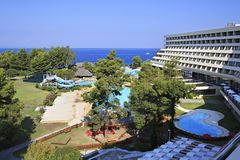 Water park and pool at the Porto Carras Sithonia. Royalty Free Stock Photography