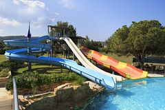 Water park at the Porto Carras Sithonia. Royalty Free Stock Photo