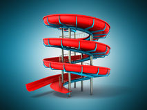 Water park red blue 3d rendering on blue background Royalty Free Stock Images