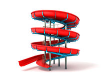 Water park red blue 3d rendering on white background Royalty Free Stock Photo