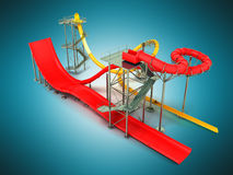 Water park rides red yellow 3d rendering on blue background Royalty Free Stock Photos
