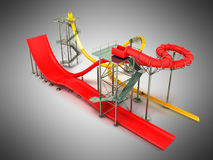 Water park rides red yellow 3d rendering on gray background Royalty Free Stock Photo