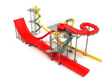 Water park rides red yellow 3d rendering on white background Stock Image