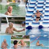 Water park. Senior men having fun in water park, collage Royalty Free Stock Photography