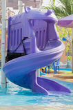 Water park. And slider on pool Royalty Free Stock Images
