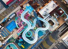 Water park slides aerial Royalty Free Stock Image