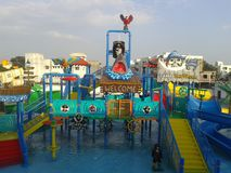 Water Park. Small water park, kids happens Royalty Free Stock Images