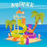 Water Park. Summer Vacation. Fun Aquapark. Water Hills. Vector illustration Royalty Free Stock Images