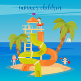 Water Park Summer Vacation. Happy Children on the Sea. Stock Photos