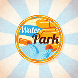 Water park tubes with pool. Retro background Royalty Free Stock Photography