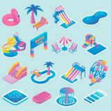 Vector water park flat isometric icon set. Water park vector colored icon set with different types of slides, swimming pools, ferris wheel, whirlpool bath Stock Photography