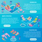 Water park vector flat isometric horizontal banner set royalty free illustration