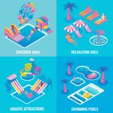 Water park vector flat isometric poster set Royalty Free Stock Photography