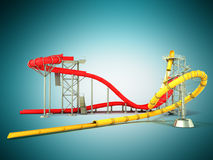 Water park water rides 3d render on blue backgroundd. Water park water rides 3d render on blue Stock Photos