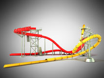 Water park water rides 3d render on gray background. Water park water rides 3d render on gray Royalty Free Stock Image