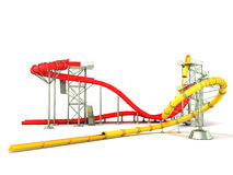 Water park water rides 3d render on white background. Water park water rides 3d render on white Royalty Free Stock Photography