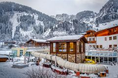 Water park in winter on the mountains royalty free stock photos