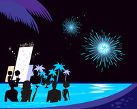 Water party night: People silhouette in pool. People in night pool. Vector illustration in retro style. Fireworks and hotel complex in background Stock Images