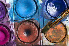 Water pastel colors with a paint brush Stock Image