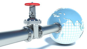 Water pipe attached to the planet earth Royalty Free Stock Photography