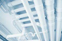 Water pipe engineering, clean line watering transport system royalty free stock photo