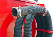 Water-pipe of fire truck Royalty Free Stock Images