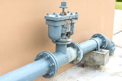 Water pipe. Industrial tap water pipe and valve Royalty Free Stock Images