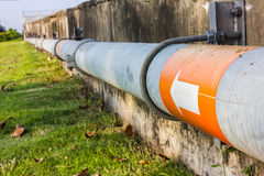 Water pipe line. Industrial water gas-main pipe line Royalty Free Stock Photo