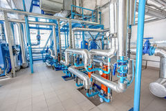 Water pipe-lines stainless steel construction at factory Royalty Free Stock Images