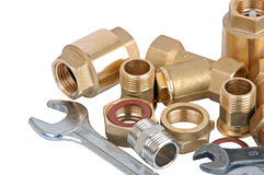 Water pipe valve and wrench Stock Image