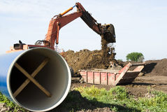 Water pipeline. Water pipe being laid at the Louis & Clark Regional Water System pipeline construction site in South Dakota Royalty Free Stock Images
