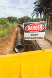 Water Pipeline Aqua-duct Construction Road Stock Photography