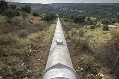 Water pipeline for drinking water supply Stock Photos