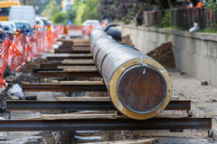 Water pipeline replacement Stock Images