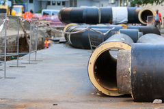Water pipeline replacement. Replacement of underground water pipes Stock Photos