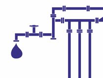 Water pipeline. Seamless background of water pipeline. Vector illustration Stock Photo